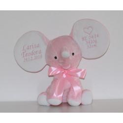 Cubbies personlig Stor bamse elefant i lyserød med navn på
