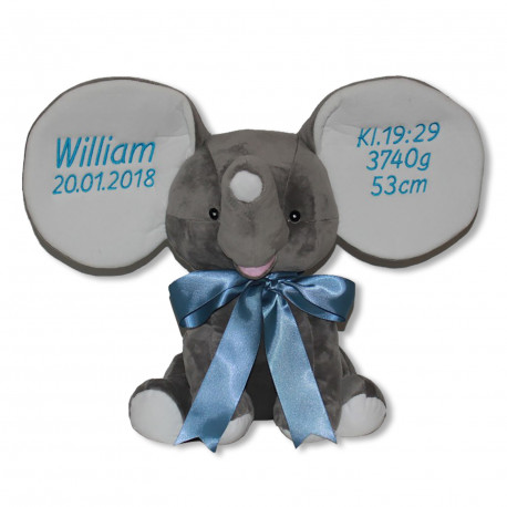 Cubbies Stor grå elefantbamse  med navn på
