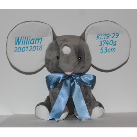 Stor grå elefantbamse  med navn på