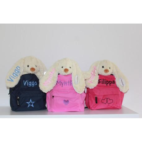 Molly kanin og rygsæk med navn på