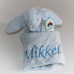 Lyseblå Jellycat bashful kanin sutteklud med navn på