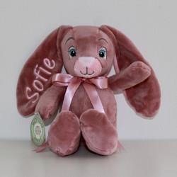 MyTeddy rosa kanin med navn på.