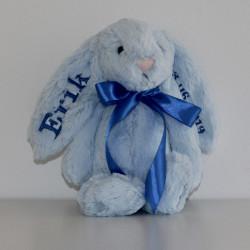 Lyseblå Jellycat kanin bamse med navn på