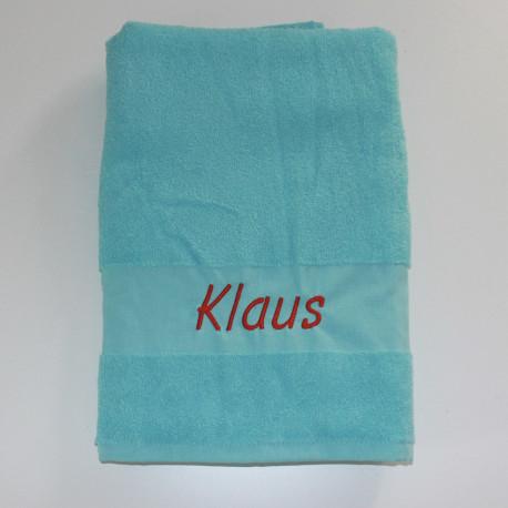 Tyrkisblå håndklæde med navn på