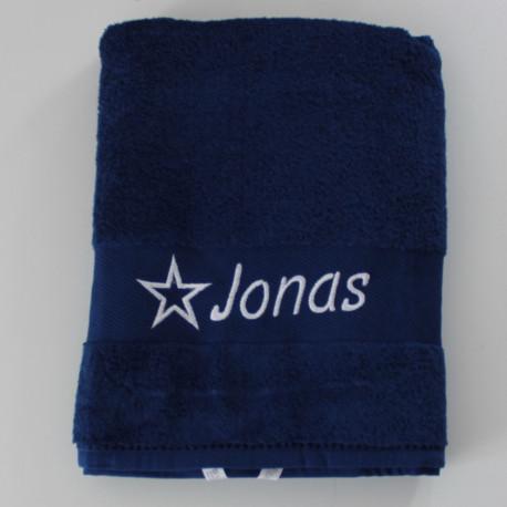 Mørkeblåt håndklæde med navn på
