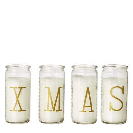 Advents julelys X-M-A-S i guld