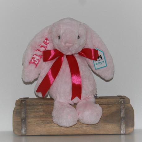 Lyserød Jellycat kanin bamse med navn og fødselsdato på