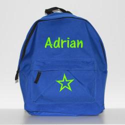 Blå Junior / børne rygsæk med navn på