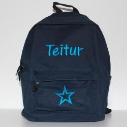 Mørkeblå Junior / børne rygsæk med navn på