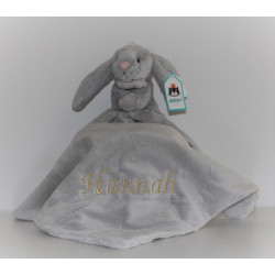 Jellycat grå kanin sutteklud med navn på
