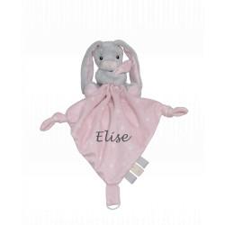 My Teddy grå og lyserød kanin sutteklud med navn på
