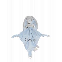 My Teddy grå og lyseblå kanin sutteklud med navn på