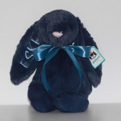 Jellycat mørkeblå kanin bamse med navn på