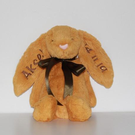 Jellycat Saffron gul kanin bamse med navn på