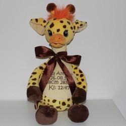 Gul giraf bamse med navn på