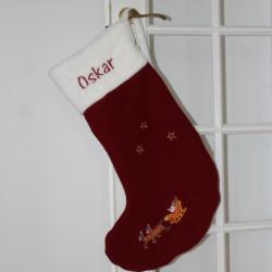 Luksus uld julestrømpe med navn på