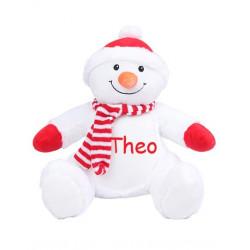 Stor snemand bamse med navn på