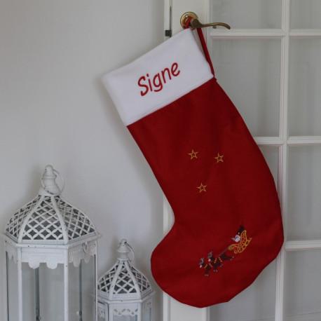Stor julestrøme med navn på. Rensdyr kane og julemand.