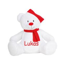 Stor jule bamse med navn på