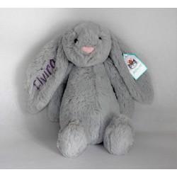 Jellycat Silver Bachful kanin bamse med navn på