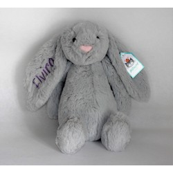 Jellycat Silver Bachfull kanin bamse med navn på