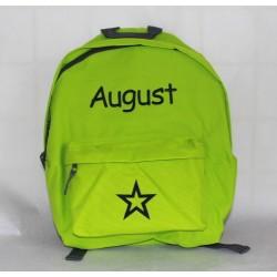 Limegrøn Junior / børne rygsæk med navn på
