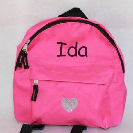 Pink børnehave rygsæk med navn på