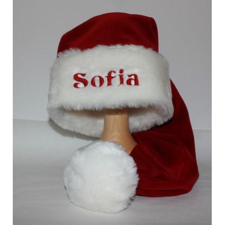Lang nissehue med navn på, luksus julehue med pelskant