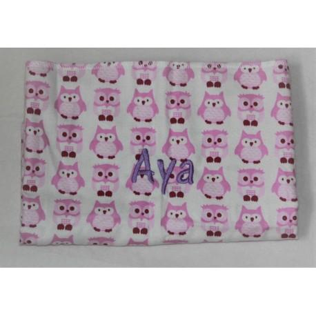 Kids Concept lyserødt tæppe med ugler og navn på