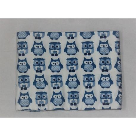 Kids Concept blåt tæppe med ugler og navn på