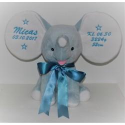 Stor elefantbamse i lyseblå med navn på