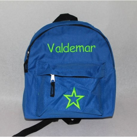 Blå børnehave rygsæk med navn på