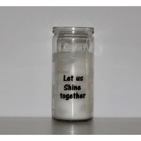 Personligt lys i glas med tekst på