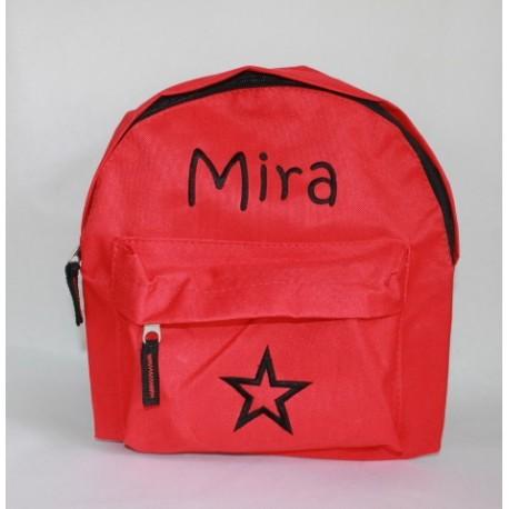 Rød børnehave rygsæk med navn på