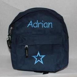 Mørkeblå rygsæk til børn med navn på