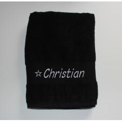 Stort sort håndklæde med navn på
